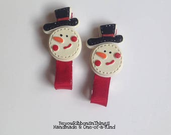Snowman Face | Hair Clips for Girls | Toddler Barrette | Kids Hair Accessories | No Slip Grip | Red Grosgrain Ribbon | Christmas
