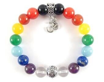 Chakra Bracelet om bracelet-7 chakra bracelet with om Charm-Rainbow bracelet-Yoga Jewelry
