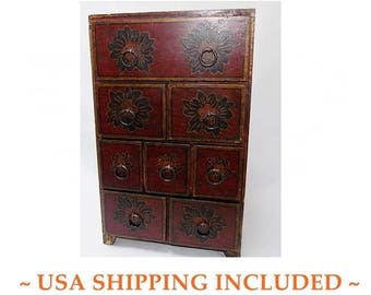 Vintage Apothecary Chest Eight Drawers Hand Painted Flowers
