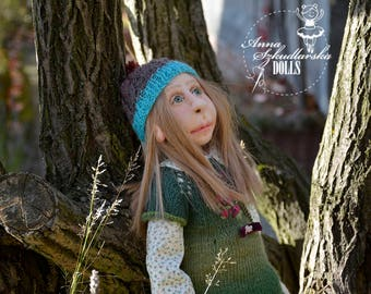 Handmade Doll Adele -50cm ((ZO 26'17)) - textile doll- fabric doll- rag doll- home decoration- handmade toy-cloth dolls-fabric dolls