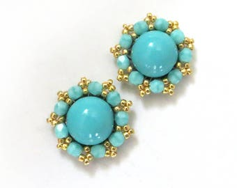 Turquoise Earrings, Gold Turquoise clip on Earrings, Turquoise Jewelry, Tiny Turquoise Stud Earrings STUD or CLIP, Turquoise post