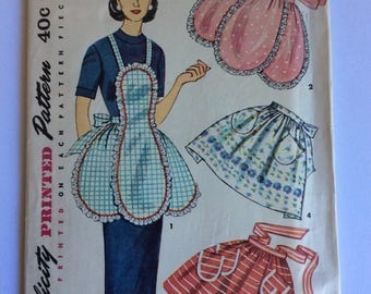 Vintage 40s Simplicity Sewing Pattern 4479 One Size Vintage Apron Sewing Pattern - Vintage Pinny Sewing