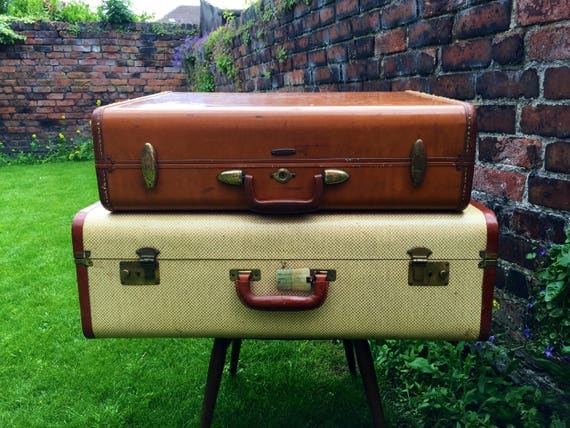 Vintage Suitcases - Vintage LUGGAGE - Vintage Home Decor - Vintage TRUNKS - Vintage Tan Cases - Photo Props - Film Prop - Samsonite Luggage