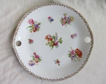 Vintage porcelain cake plate,floral with gilt edge.  Crown over crossed swords Dresden? Afternoon tea, bridal shower, tea party. Collectable