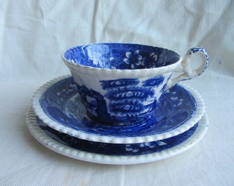 """Vintage Copeland """"Spode's Tower"""" transfer printed tea cup, saucer plate. English flow blue and white Staffordshire pottery Tea party trio"""