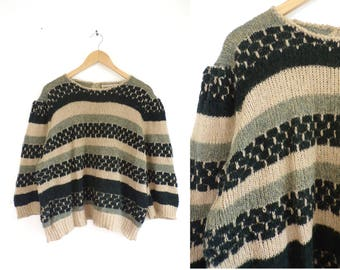 70s Striped Sweater Wide Cut Oversize Sweater 3/4 Cropped Sleeves Acrylic & Wool Sweater Womens Jumper Large/XL Black Pink Gray