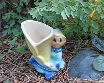 "Vintage Pixie Vase ""Shawnee"" Pottery Elf Girl with Flower Hat & Yellow Calla Lily Pot Small Planter Woodland Mid Century Decor Art Gift"