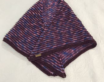 Purple dream knitted shadow shawl