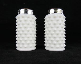 Vintage Fenton Hobnail White Milk Glass Salt and Pepper Shakers Chrome Lids