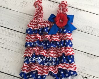 4th of July Flag Stars Patriotic Satin Petti Romper, Red White Blue, newborn infant toddler little baby girl, photo prop outfit Memorial Day