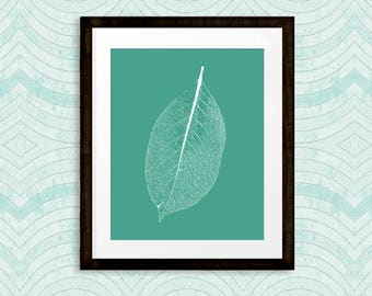 Nature Art Print, Office Wall Decor, Leaf Print in Aqua, Printable, Wall Art Print, INSTANT DOWNLOAD