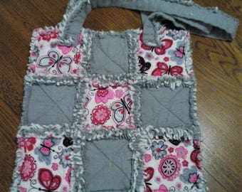 Pink & Gray Butterflies Rag Tote