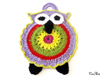 Purple crochet owl potholder, presina gufo lilla all'uncinetto