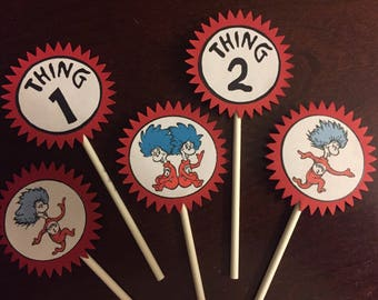 Dr. Seuss Thing 1/Thing 2 Cupcake Toppers (5), Dr. Seuss Party, Dr. Seuss Shower, Twins, Dr. Seuss Birthday