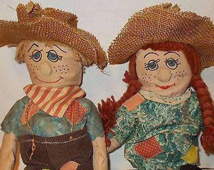 "13"" Vintage 60s 70s Creepy Primitive Handmade Mr & Mrs Scarecrow Halloween Dolls Toys"