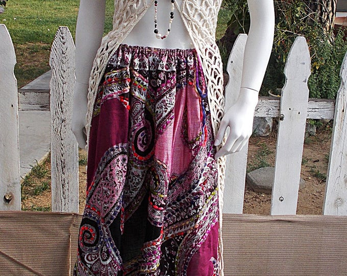 Vintage 80s Boho Hippie Chic Womens Coachella Style Festival Purple Red White Floral Paisley Rayon String Tie Full Length Maxi Skirt One Siz
