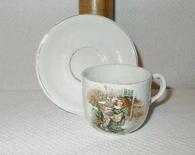 Antique Vintage 30s German Girl Feeding Birds White China Porcelain Childrens Collectible Cup & Saucer