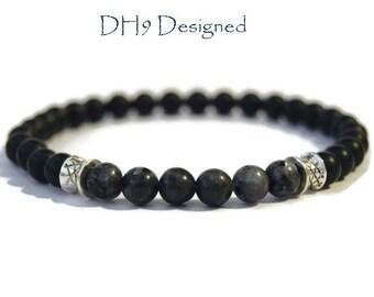 Mens Matte Black Onyx and Larvikite Bracelet - Mens Gemstone Bracelet - Mens Beaded Bracelet - Mens Onyx bracelet - Fathers Day bracelet