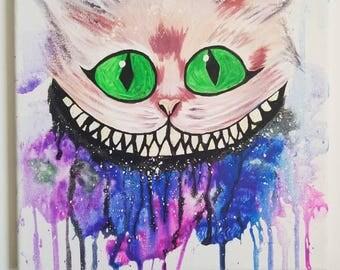 Cheshire cat galaxy painting 10x10 Glow in the dark!