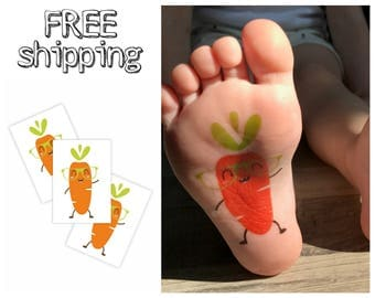 Set of 3 temporary tattoos «Carrot». Veggie kids body stickers with hipster vegetable in sunglasses. Playdate and party bag supply. TT219