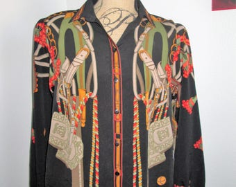 Abstract Vintage 1980's Silk Blouse, Button up, Shoulder Pads, Beautiful Pattern, Fits Medium
