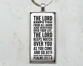 Personalized Keychain or Necklace with Your Words, Quote or Scripture Set Beneath Glass