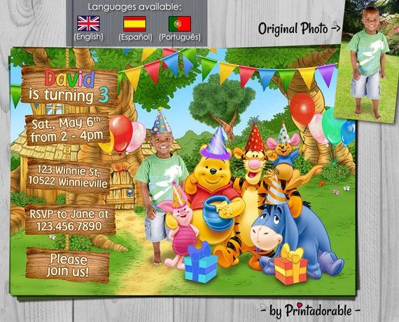 Winnie the Pooh Invitation - Winnie Birthday Invite - Baby Disney Party Printables