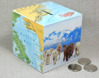 Custom Map Money Box, Decoupaged Map Piggy Bank, Wanderlust Gifts, Gift for Wife, Husband Gifts, Custom Christmas and Birthday Gifts