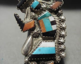 One Of The Tallest Vintag Zuni Dancing Kachina Turquoise Silver Ring Old
