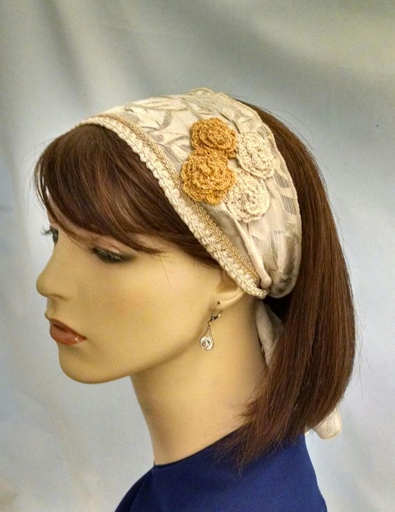 Elegant cream headband with crocheted floral accents, headbands, hair accessories