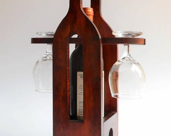 Wine Caddy, Wine and Glass Holder, Wine and Glass Caddy. Wine Rack holder