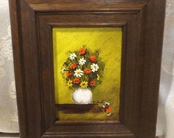 "Vintage Daisy Floral Oil Painting Signed P. Hurt Framed 5"" X 7"""