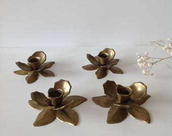 Set of 4 candle holders shaped like flowers, set of 4 flowers form candlesticks