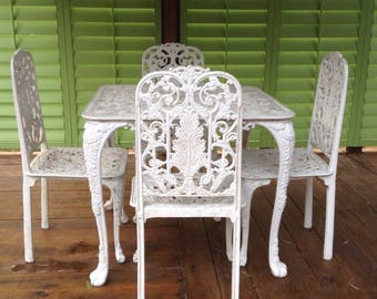 Cast Iron Vintage Table and 4 Chairs