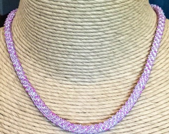 Silver Pink Glass Beaded Crocheted Necklace