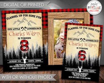Lumberjack Invitation, Lumberjack Birthday Invitation, Lumberjack Birthday Party Invite, Black Red, Buffalo Flannel, Digital Printed #524-2