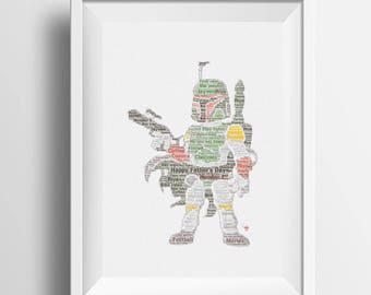 Framed word art Star Wars personalised gift; boba fett design great framed gift ideal for Christmas, birthdays, for Star Wars fan