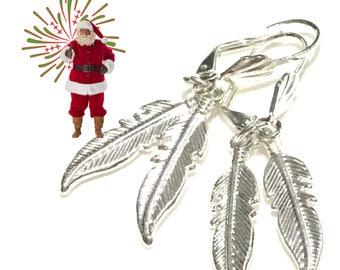 Tiny Feather Earrings, Silver Drop  Earrings, Tiny Feathers Drop Earrings, Appreciation gift,Every day Wear earrings, Free Local Shipping