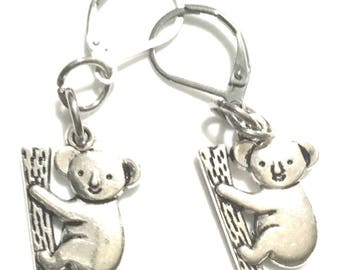 Koala Bear Earrings, Antique Silver Koala Earrings, Gift for Her, Souvenir  Earrings, On Trend Stylish Earrings, Lovely Koala Earring Gift