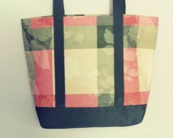 Pastel Plaid  Leaves Totebag-Upholstery Fabric