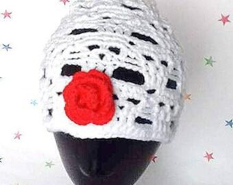 Crochet Skull Hat, Skull Themed hat, Skulls and Roses, Horror Beanie, Halloween Hat, Adult skull cap, gift for him,