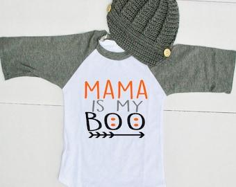 Halloween Outfit for Boy - Toddler Boy Halloween Shirt - Mama is My Boo Raglan - Halloween Shirt for Baby Boy - Halloween Tee for Boys
