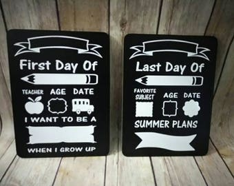READY TO SHIP - Back to school boards - first day of school and last day of school - double sided - chalkboard and dry erase boards