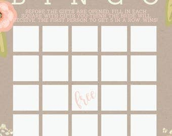 Country Chic Bridal Shower Bingo