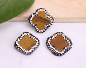 17mm 10-15Pcs Natural tiger's-eye stone Four-leaf clover pave crystal rhinestone beads,connector necklace/bracelet/Pendant Jewelry Findings
