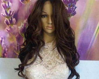 Ombre  brown  color 4 lace front wig. 24''