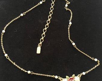 1928 Jewellery, Rose necklace, 1928 Co. dainty necklace. Vintage necklace