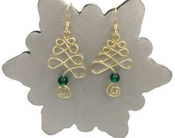 Christmas Earrings - Gold Christmas Tree Earrings - Festive Earrings, Handmade Christmas Tree Earrings   Accessorise your Christmas Jumper