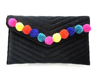 Colorful Boho Black Velvet Pom Pom Clutch Handbag