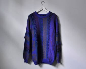 Purple Pattern Knit Sweater